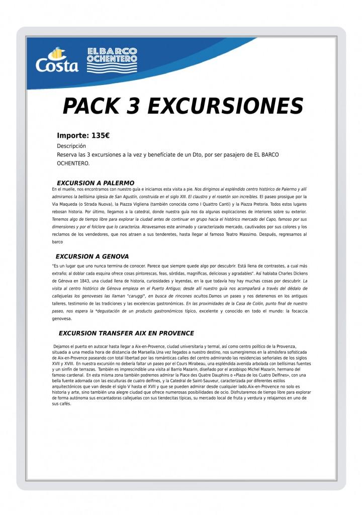 EXCURSION PACK 3 EXCURSIONES SR-1